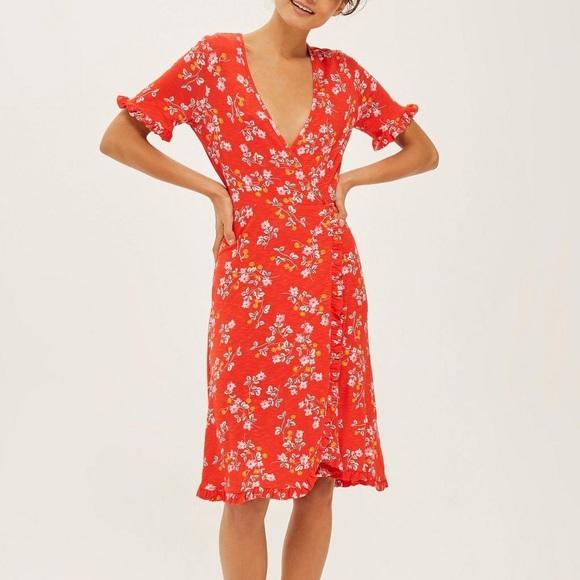 649dff87988ebd Topshop Dresses   Ditsy Floral Print Wrap Dress Frill Sleeve   Poshmark